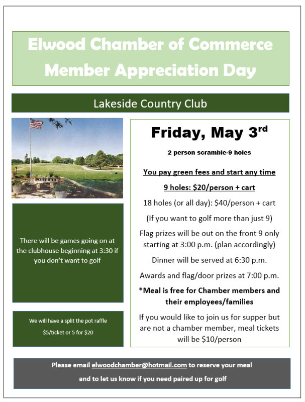 Elwood Chamber of Commerce Member Appreciation Day - May 3rd